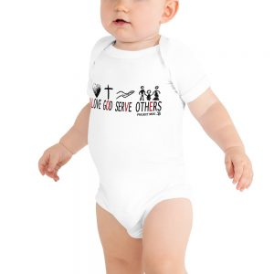 Love God Serve Others - Baby Onsie in white and different sizes.