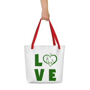 White and red/black polyester bag with LOVE slogan on top
