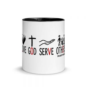Love God Serve Others Mug with white background