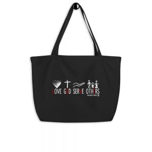Large organic tote bag in black